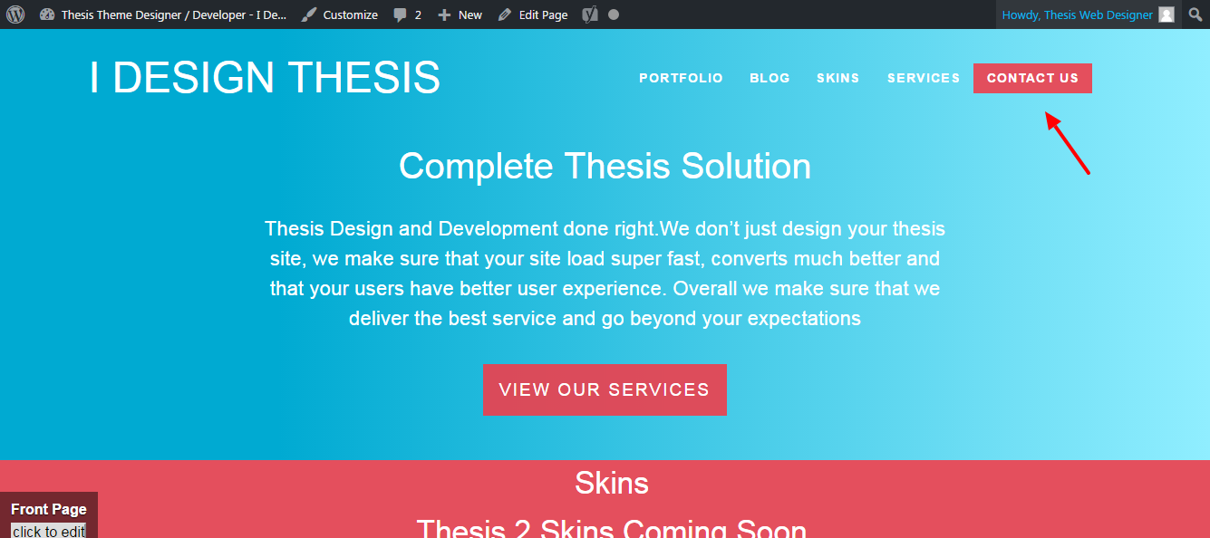 Thesis theme blog page